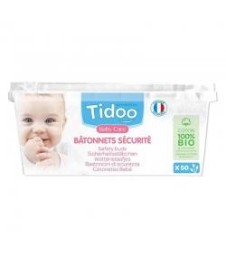 Bâtonnets sécurité de coton BIO ultra doux bébé - 50 pièces - Tidoo Care