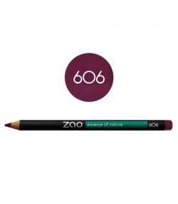 Crayon yeux, lèvres & sourcils BIO N°606 Prune – 1,17g – Zao Make-up