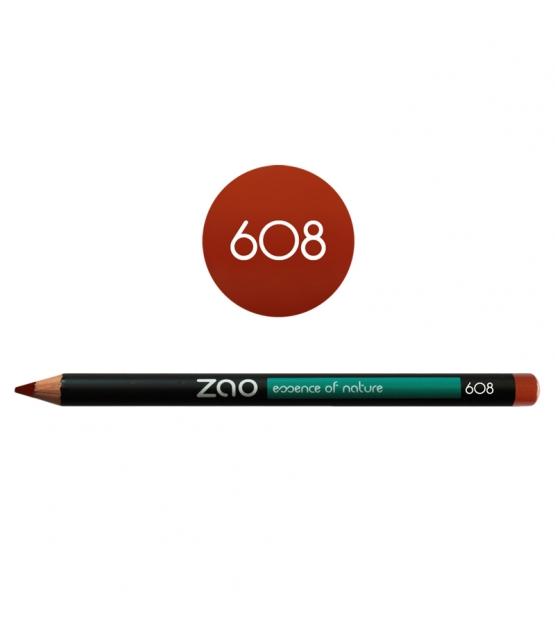 Crayon yeux, lèvres & sourcils BIO N°608 Brun orangé – 1,17g – Zao Make-up