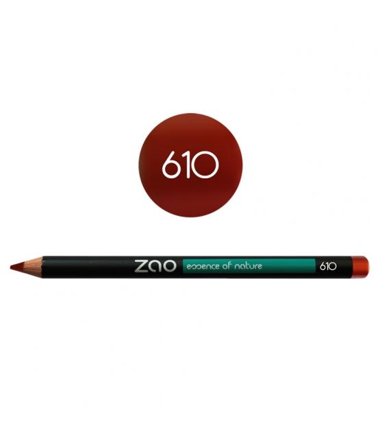 BIO-Augenstift, BIO-Lippenstift & BIO-Augenbrauenstift N°610 Kupfer Rot – 1,17g – Zao Make-up
