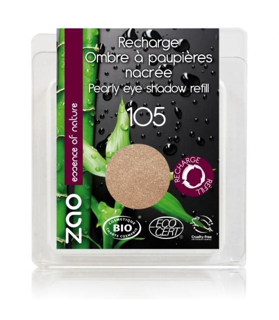 Recharge Fard à paupières nacré BIO N°105 Sable doré - 3g - Zao Make-up