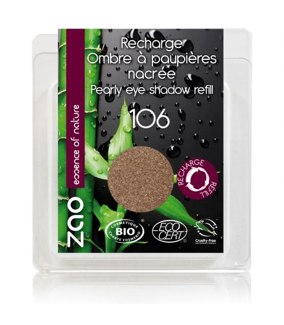 Recharge Fard à paupières nacré BIO N°106 Bronze - 3g - Zao Make-up