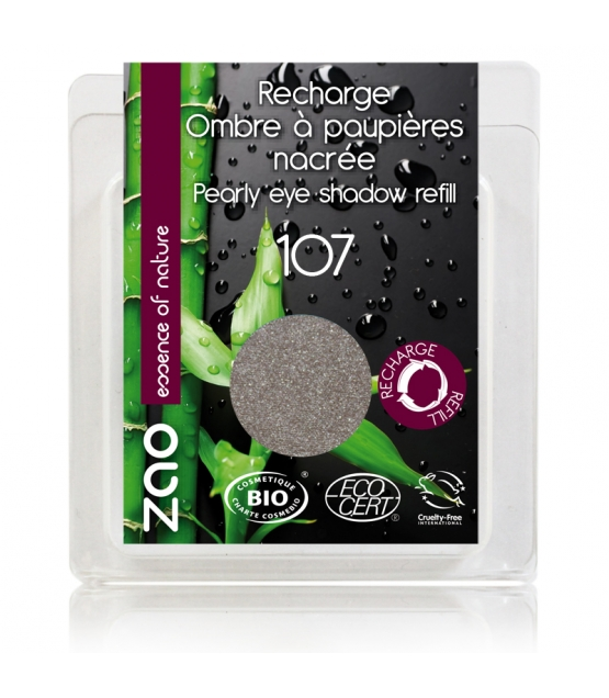 Nachfüller BIO-Lidschatten perlmutt N°107 Braun Grau - 3g - Zao Make-up