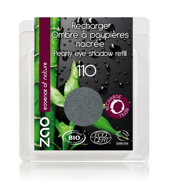 Recharge Fard à paupières nacré BIO N°110 Gris métal - 3g - Zao Make-up