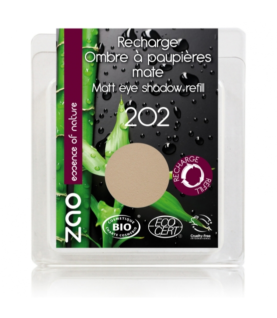 Recharge Fard à paupières mat BIO N°202 Brun beige - 3g - Zao Make-up