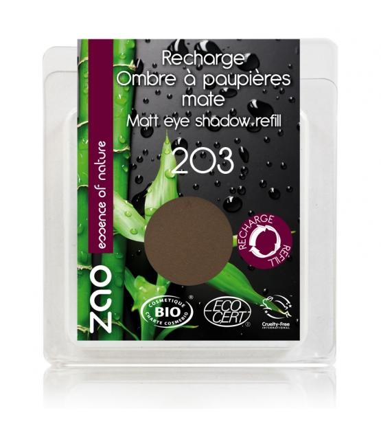 Nachfüller BIO-Lidschatten matt N°203 Dunkelbraun - 3g - Zao Make-up