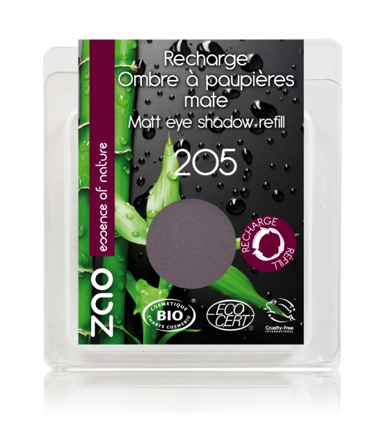 Recharge Fard à paupières mat BIO N°205 Violet foncé - 3g - Zao Make-up