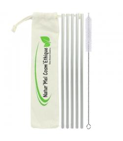 Lot de 5 pailles en inox droites avec goupillon et sac en coton - Natur'Mel Cosm'Ethique