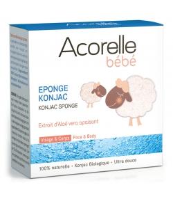 Éponge Konjac visage & corps bébé naturelle aloe vera - 1 pièce - Acorelle