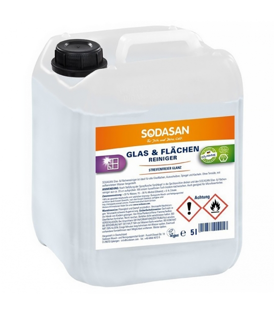 Nettoyant vitres & surfaces écologique sans parfum - 5l - Sodasan