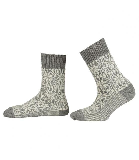 """Chaussette unisexe """"étoile norvégienne"""" en laine BIO gris clair/naturel - taille 42-43 - 1 paire - Memo"""