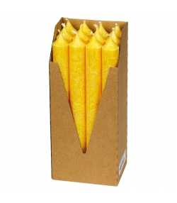 Bougies chandeliers jaunes en stéarine BIO 22 x 210 mm - 12 pièces - Eubiona