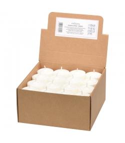 Bougies chauffe-plat blanches sans support en stéarine BIO 20 x 35 mm - 48 pièces - Eubiona