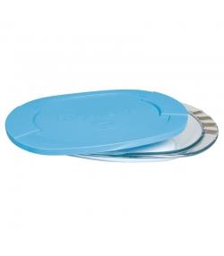 Flache Dose aus Glas mit Plastikdeckel - 1 Stück - ah table !