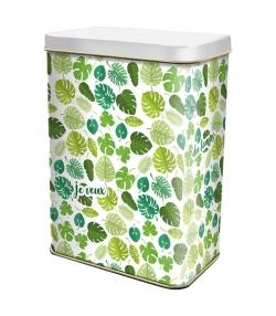 "Boîte en fer blanc rectangle ""grandes feuilles vertes"" - 1 pièce - ah table !"