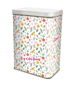 """Boîte en fer blanc rectangle """"fleurs multicolores"""" - 1 pièce - ah table !"""
