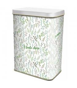 "Boîte en fer blanc rectangle ""fleurs vertes"" - 1 pièce - ah table !"