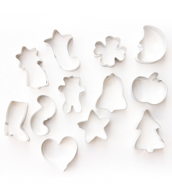 """12 découpoirs """"pâtisserie assortis"""" en fer blanc - 12 pièces - ah table !"""