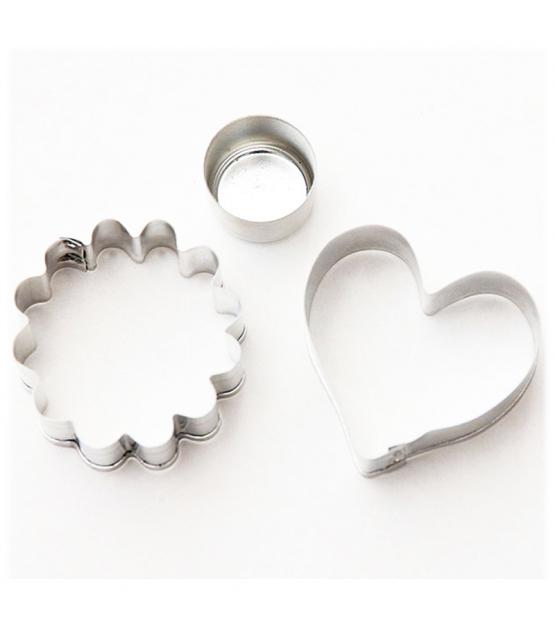 """2 découpoirs sablés """"coeur et fleur"""" en fer blanc - 2 pièces - ah table !"""