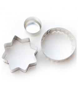 """2 découpoirs sablés """"étoile et rond"""" en fer blanc - 2 pièces - ah table !"""