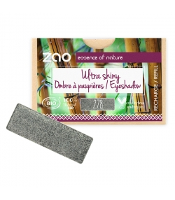 Recharge Fard à paupières rectangle ultra brillant BIO N°278 Gris anthracite - 1,3g - Zao Make-up