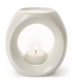 Teelicht-Duftlampe Cremeweiss matt für ätherische Öle - Primavera