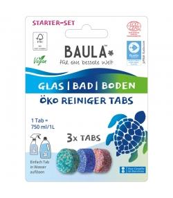 Kit de démarrage pastilles nettoyantes vitres, salles de bain & sols écologiques Fresh Ocean - 3 pastilles - Biobaula