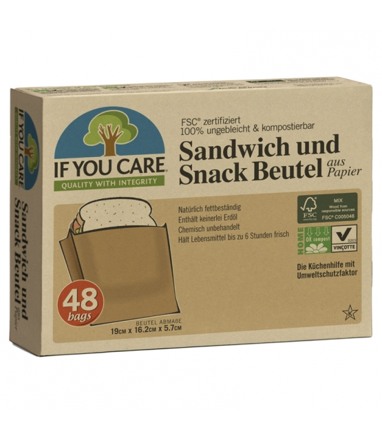 Sacs en papier pour sandwich & snack écologiques - 48 pièces - If You Care