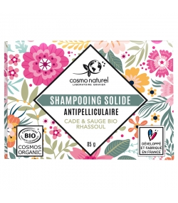 Shampooing solide anti-pelliculaire BIO cade, sauge & rhassoul - 85g - Cosmo Naturel