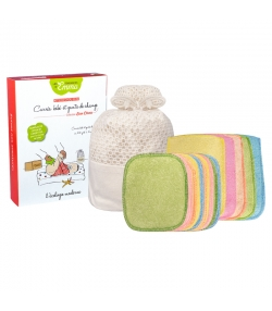 Kit Eco Chou Mini Bambou Couleur écologique - 10 carrés bébé, 5 gants de change & filet de lavage - Les Tendances d'Emma