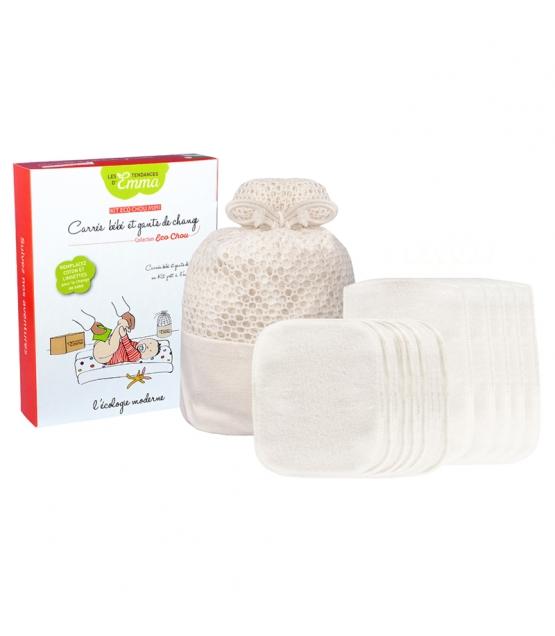 Ökologisches Kit Eco Chou Mini Eukalyptus - 10 Babytüchlein, 5 Windelhandschuhe & Wäschenetz - Les Tendances d'Emma