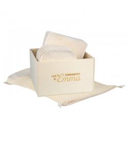Kit Eco Chou Coton écologique - 10 carrés bébé, 10 gants de change, boîte & filet de lavage - Les Tendances d'Emma