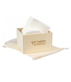 Kit Eco Chou Eucalyptus écologique - 10 carrés bébé, 10 gants de change, boîte & filet de lavage - Les Tendances d'Emma