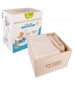 Kit Eco Net Bambou Écru écologique - 15 lingettes multi-usages, boîte & filet de lavage - Les Tendances d'Emma