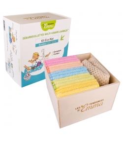 Ökologisches Kit Eco Net farbiger Bambus - 15 Mehrzwecktücher, Schachtel & Wäschenetz - Les Tendances d'Emma