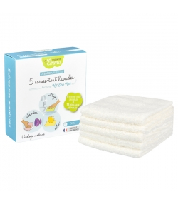 Lingettes multi-usages lavables en bambou écru écologiques - 5 pièces - Les Tendances d'Emma
