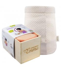 Kit Eco Belle Bois Bambou Couleur écologique - 15 carrés démaquillants, boîte & filet de lavage - Les Tendances d'Emma