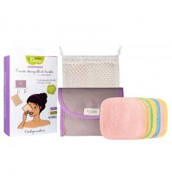 Kit Eco Belle Mini Bambou Couleur écologique - 7 carrés démaquillants, trousse & filet de lavage - Les Tendances d'Emma