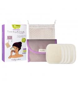 Kit Eco Belle Mini Coton écologique - 7 carrés démaquillants, trousse & filet de lavage - Les Tendances d'Emma