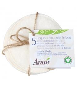 Disques à démaquiller bi-faces lavables en coton BIO - 5 pièces - Anaé