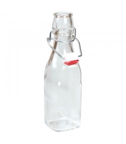 Bouteille chopine fond carré en verre transparent 25cl avec bouchon mécanique en plastique - 1 pièce - ah table !