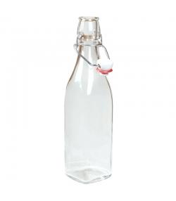 Bouteille pinte fond carré en verre transparent 50cl avec bouchon mécanique en plastique - 1 pièce - ah table !
