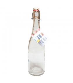 Bouteille limonade fond rond en verre transparent 75cl avec bouchon mécanique en porcelaine - 1 pièce - ah table !