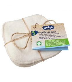 Lingettes bébé bi-faces lavables en coton bio - 5 pièces - Zélio