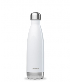 Bouteille isotherme en inox blanc brillant - 500ml - 1 pièce - Qwetch Brillant