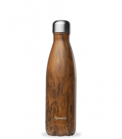 Bouteille isotherme en inox wood brun - 500ml - 1 pièce - Qwetch Wood