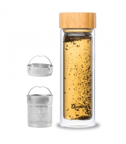 Théière isotherme en verre avec bouchon bambou - 430ml - 1 pièce - Qwetch Nature