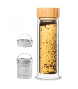 Thermos-Teeflasche aus Glas mit Bambusdeckel - 430ml - 1 Stück - Qwetch Nature