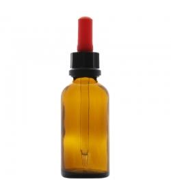 Flacon en verre brun 50ml avec pipette compte-gouttes rouge et anneau d'inviolabilité - 1 pièce - Potion & Co