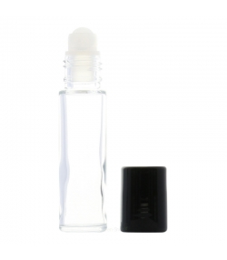 Flacon en verre transparent 10ml avec bille en plastique et bouchon noir - 1 pièce - Potion & Co